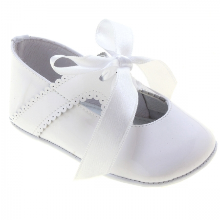 Baby Girls White Patent Ribbon Shoes