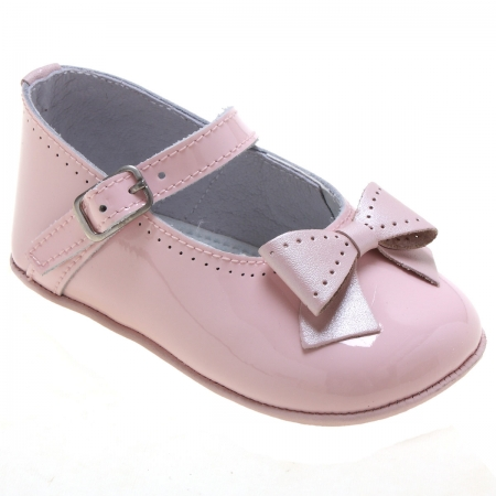 Baby Girls Pink Patent Leather Pram Shoes With Bows