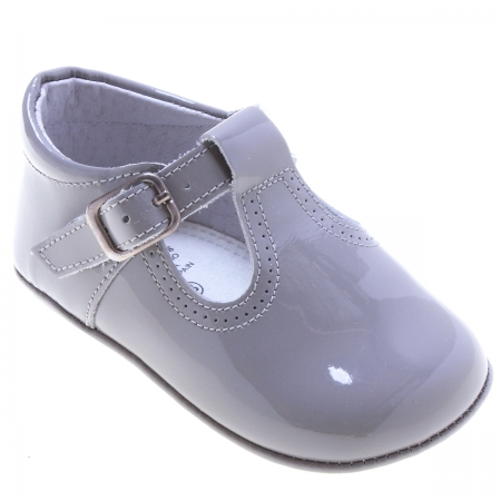 Baby Light Grey T Bar Patent Shoes