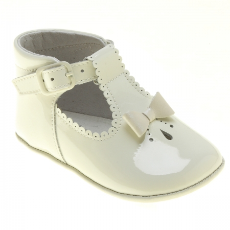 Baby Girls Ivory Patent T Bar Shoes Bow And Scallop