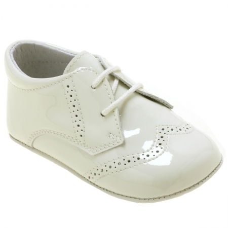 Baby Boys Ivory Patent Brogue Styled Pram Shoes