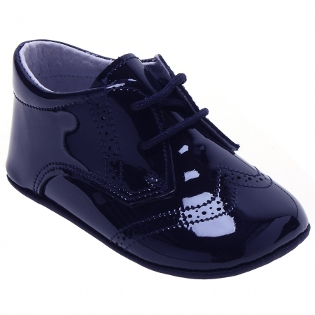 Baby Boys Brogue Styled Navy Patent Shoes