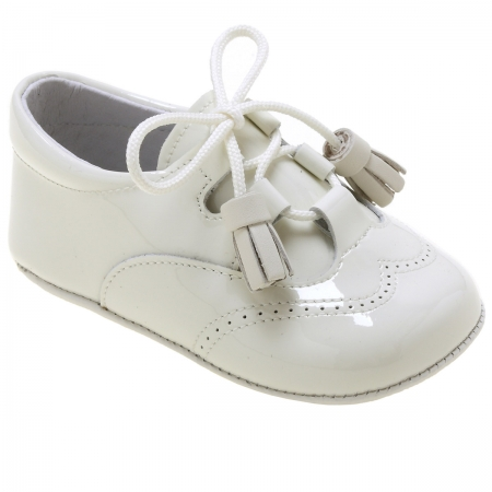 Baby Boys Ivory Patent Pram Shoes With Tassel Laces