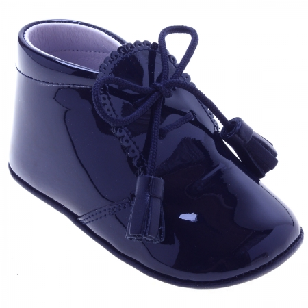 f7c8704841e Baby Boys Navy Patent Pram Shoes With Tassels By Leon Shoes Of Spain