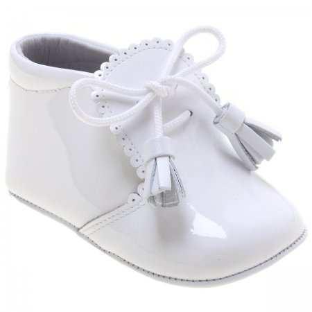 Stunning Baby Boys And Girls Baby White Patent Tassels Pram Shoes