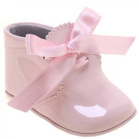 Baby Girls Pink Pram Boots With Ribbons