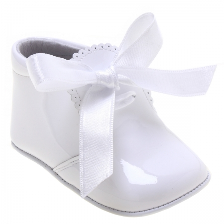 Baby Girls White Pram Boots With Ribbons