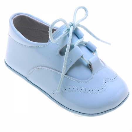 Baby Boys Blue Patent Brogue Style Pram Shoes