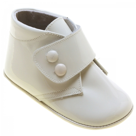 Baby Boys Ivory Patent Velcro Fastening Pram Shoes High Ankle Support