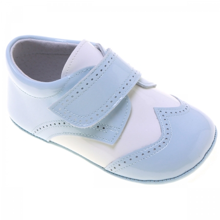 Baby Boys Baby Blue White Patent Shoes