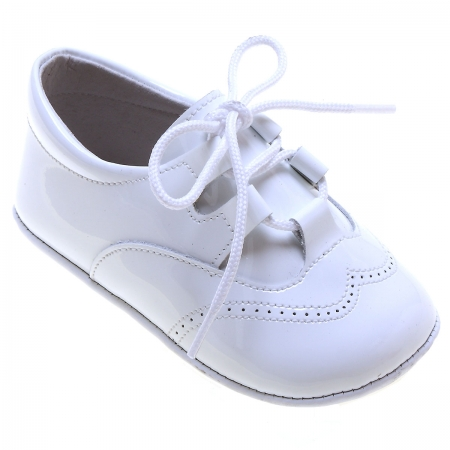 Baby Boys White Patent Brogue Style Pram Shoes