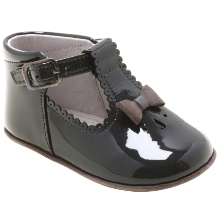 Baby Girls Dark Grey Patent T Bar Shoes Scallop And Bow