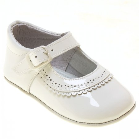 Baby Girls Ivory Patent Leather Pram Shoes With Scallop Frills
