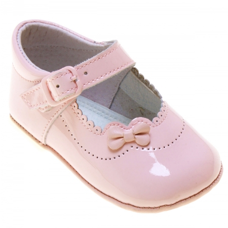 Baby Girls Pink Patent Pram Shoes With Flowers