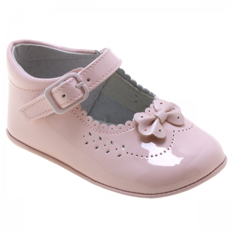 Baby Girls Pink Patent Pram Shoes Scallop And Bow