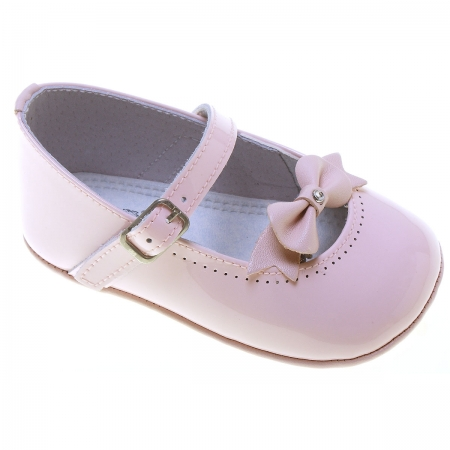 Baby Girls Pink Patent Shoes Bow Decoration
