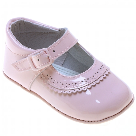 Baby Girls Pink Patent Pram Shoes Scallop Frills