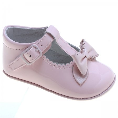 Baby Girls T Bar Pink Patent Bow Shoes Scallop And Bow