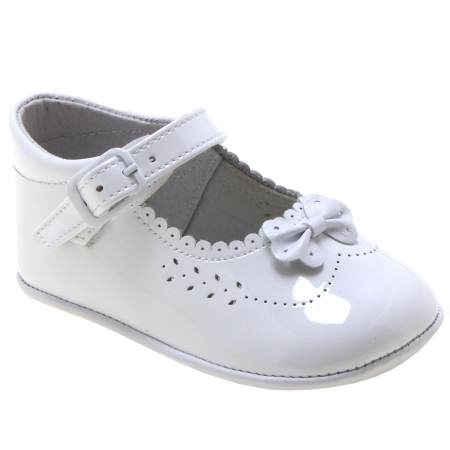Baby Girls White Patent Shoes Bow And Scallop Edge