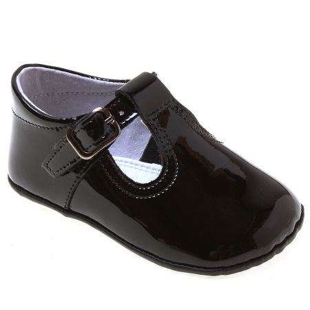 Baby Black Patent T Bar Pram Shoes