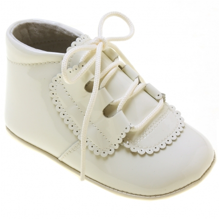 Baby Boys Ivory Shoes Patent Leather Pram Shoes