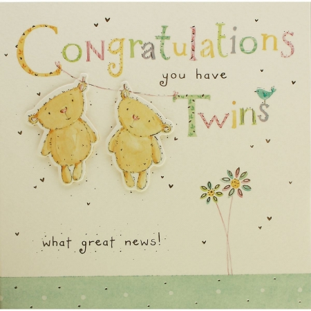 Two Baby Bears NewBorn Twins Congratulations Card