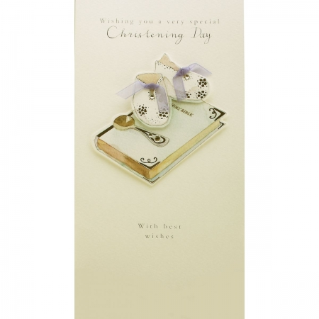 Hand Decorated Wishing You a Very Special Christening Day Card