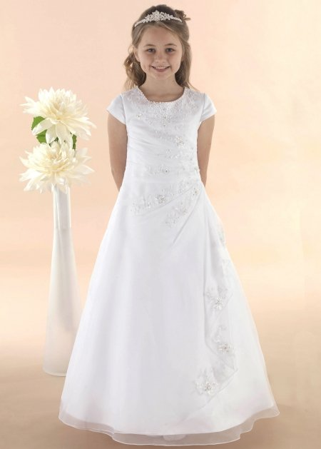 Satin Organza White Communion Dress With Beads