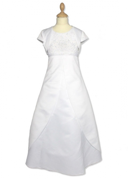 Satin Beaded First Holy Communion Dress With Bolero