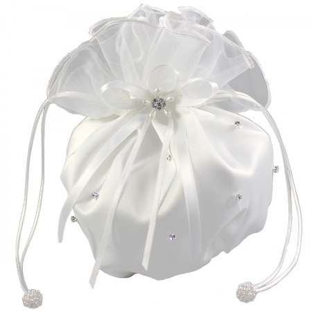 Linzi Jay Communion White Dolly Bag Diamantes With Satin And Organza
