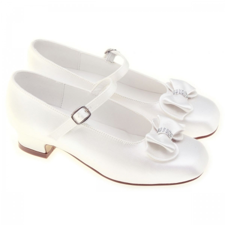 Girls White Shoes For First Communion With Diamonate Bows