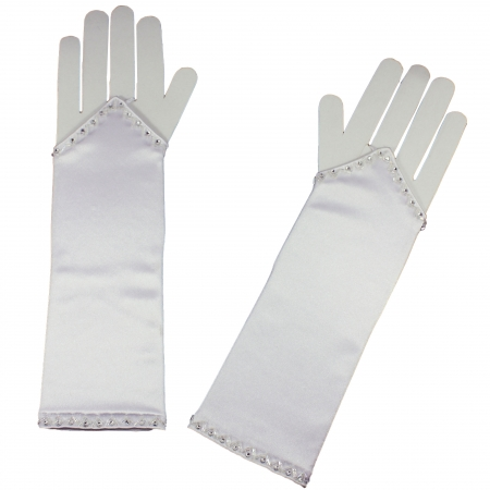 Fingerless First Communion Long Gloves Fingerless With Diamantes Decoration