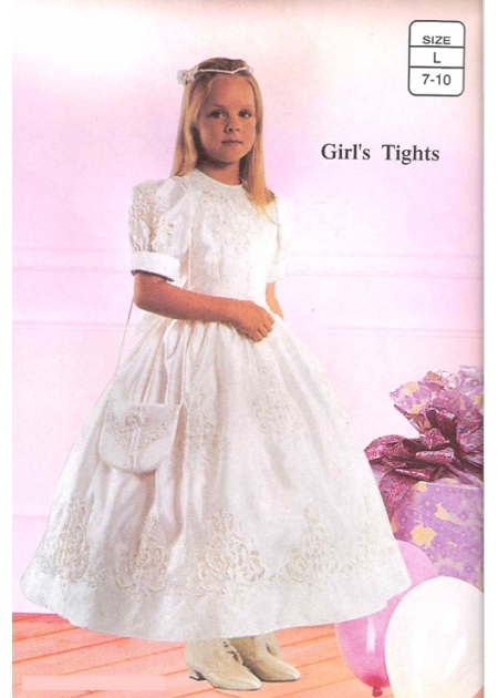 Girls plain white communion tights and special occasions tights