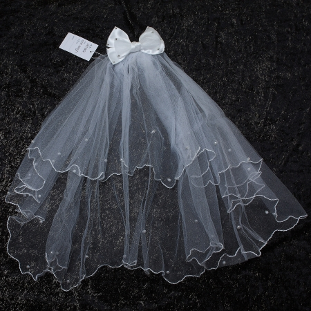 First Holy Communion Veil With Bow And Sequins