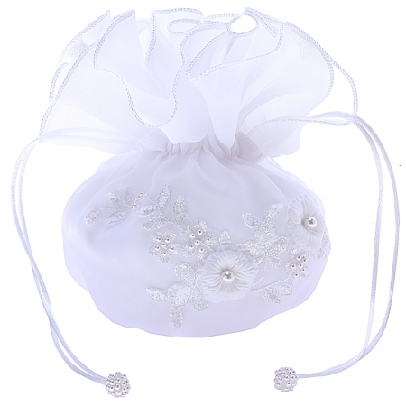 Embroidered Flowers Beads And Pearls First Holy Communion Organza Dolly Bag