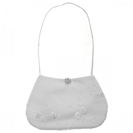 First Holy Communion Bag With Embroidered Flowers And Diamante