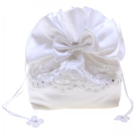 Flowers Diamantes And Bow White Communion Dolly Bag