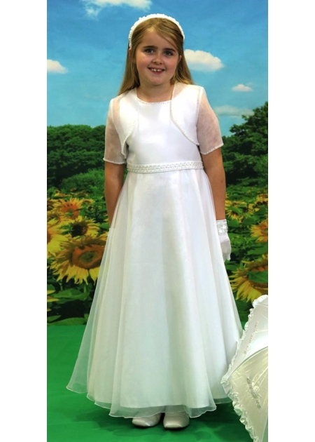 Little People First Holy Communion Dress With Beads Waistband