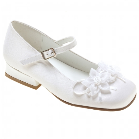 Girls First Holy Communion Shoes With 2 Flowers