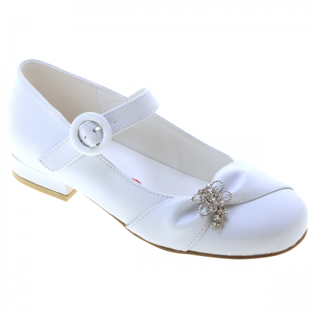 Rochelle Girls White Occasion Shoes With Diamante Bow