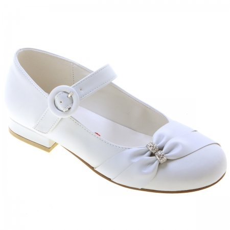 Rochelle Girls White Occasion Shoes With Gathered Diamante Straps