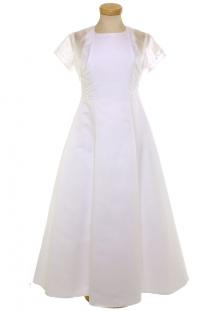 Girls Elegant White Communion Dress With Net Bolero