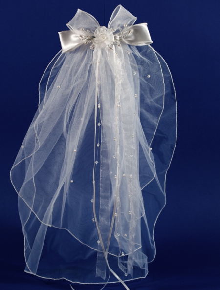 Communion Headdress And Veil Decorated With Bow and Beads