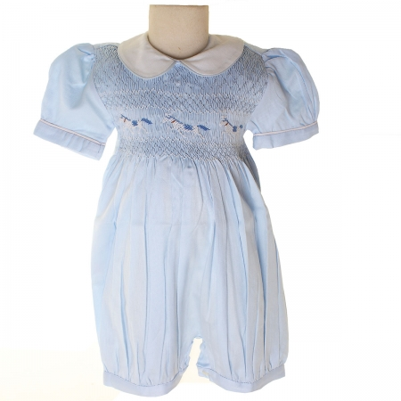 Traditional Hand Smocked Baby Blue Romper With Horses Embroidery