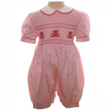 Traditional Hand Smocked Baby Girls Pink Romper With Teddy Bears Embroidery