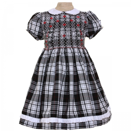 Girls Traditional Smocked Tartan Dress In Black And White And Red Flowers