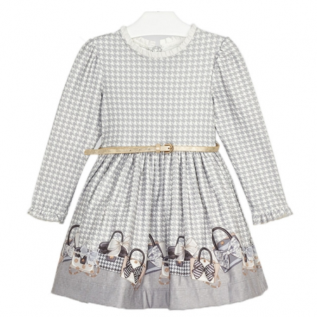 Mayoral Girls Grey Jacquard Pattern Dress With Belt