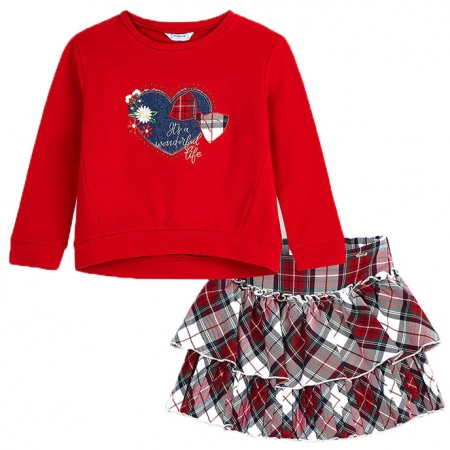 Mayoral Autumn Winter Girls Red Pullover Top Pleated Tartan Skirt