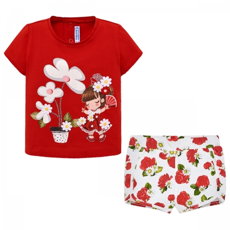 Mayoral Spring Summer Baby Girls Red T Shirt Floral Shorts Set