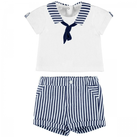 Mayoral Baby Boys White Navy Stripes Sailor Outfit